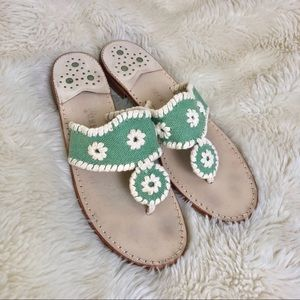Jack Rogers Harbor Navajo Sandals in Green Canvas
